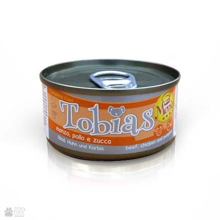 Консервы для собак Tobias Menu с говядиной, куриными сердечками, тыквой