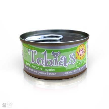 Консервы для собак Tobias Menu с курицей, говядиной, зеленая фасоль, 85г
