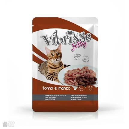 Влажній корм Пауч для котов VIBRISSE JELLY с тунцом, говядиной в желе, 70г