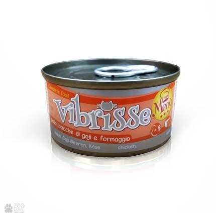 Конcервы для котов VIBRISSE MENU с курицей с ягодами годжи в сырном соусе